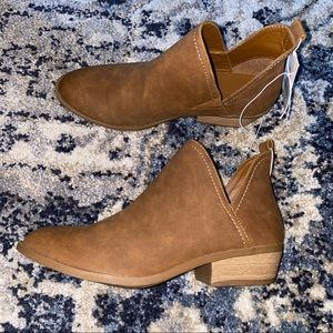 Faux Leather Cut Out Ankle Bootie